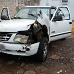 Caminhonete S10 derrubou portão da penitenciária e auxiliou na fuga em massa | Foto: Susepe / Divulgação / CP